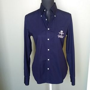 RALPH LAUREN BLACK LABEL FITTED NAVY BLOUSE SZ 10